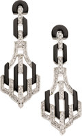 Estate Jewelry:Earrings, Diamond, Black Onyx, White Gold Earrings. ... (Total: 2 Items)