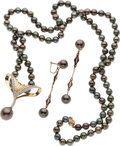 Estate Jewelry:Suites, Black Cultured Pearl, Diamond, Enamel, Gold Jewelry Suite. ...(Total: 2 Items)