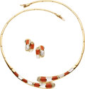 Estate Jewelry:Suites, Coral, Mother-of-Pearl, Diamond, Gold Jewelry Suite. ... (Total: 3Items)