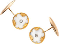Diamond, Enamel, Gold Cuff Links, Russian