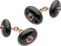 Estate Jewelry:Cufflinks, Bloodstone Chalcedony, Ruby, Gold Cuff Links. ... (Total: 2 Items)