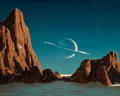 Mainstream Illustration, CHESLEY BONESTELL (American, 1888-1986). Saturn Viewed fromTitan, c. 1952. Oil on board. 18.25 x 23 in.. Signed lower l...