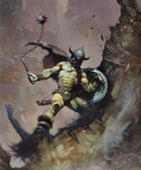FRANK FRAZETTA (American, b. 1928) Warrior with Ball and Chain, Flashing Swords #1, paperback cover, 19
