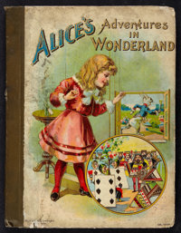 Alice's Adventures in Wonderland (Hurst & Company, ca. 1902). Cloth spine, chromo illustrated boards, 75pgs. (7.5&qu...