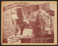 """City of Missing Girls (American Film Co., R-1946). Lobby Card Set of 4 (11"""" X 14""""). Cult Classic"""