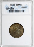 1835 1/2 C Brown--Corroded--ANACS. MS60 Details. NGC Census: (0/382). PCGS Population (15/286). Mintage: 398,000. Numism...