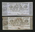 Obsoletes By State:Arkansas, (Little Rock), AR- Arkansas Treasury Warrants $10 1863-64 Cr. 56f Two Examples. ... (Total: 2 notes)