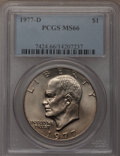Eisenhower Dollars: , 1977-D $1 MS66 PCGS. PCGS Population (393/5). NGC Census: (127/3). Mintage: 32,983,006. Numismedia Wsl. Price for problem f...