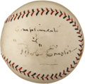 Autographs:Baseballs, 1920 Bob Emslie Single Signed Baseball, Umpire for Merkle'sBoner....