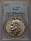 Eisenhower Dollars: , 1976 $1 Type Two MS66 PCGS. PCGS Population (373/9). NGC Census: (285/2). Mintage: 113,318,000. Numismedia Wsl. Price for p...