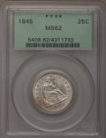Seated Quarters: , 1845 25C MS62 PCGS. PCGS Population (12/25). NGC Census: (7/37).Mintage: 922,000. Numismedia Wsl. Price for problem free N...