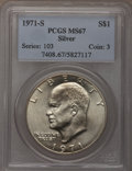 Eisenhower Dollars: , 1971-S $1 Silver MS67 PCGS. PCGS Population (324/2). NGC Census: (68/1). Mintage: 2,600,000. Numismedia Wsl. Price for prob...