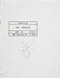 Transportation:Space Exploration, Apollo 8 Training-Used CMP Checklist Book Directly from the Personal Collection of Mission Command Module Pilot Ja...
