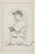 "Baseball Collectibles:Others, Eddie Collins Signed Original Artwork ""Raitt Collection""...."