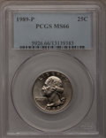Washington Quarters: , 1989-P 25C MS66 PCGS. PCGS Population (42/10). NGC Census: (22/7).Mintage: 512,868,000. Numismedia Wsl. Price for problem ...