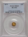 California Fractional Gold: , 1873 25C Liberty Round 25 Cents, BG-842, R.6, MS63 PCGS. PCGSPopulation (5/2). (#10703)...