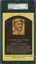 Baseball Collectibles:Others, Chick Hafey Signed Hall of Fame Plaque Postcard....