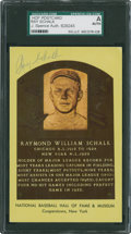Baseball Collectibles:Others, Ray Schalk Signed Hall of Fame Plaque Postcard....