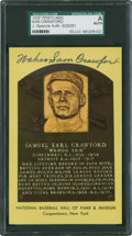 Baseball Collectibles:Others, Sam Crawford Signed Hall of Fame Plaque Postcard....