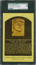 Baseball Collectibles:Others, Gabby Hartnett Signed Hall of Fame Plaque Postcard....