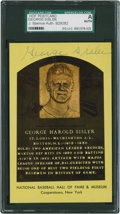 Baseball Collectibles:Others, George Sisler Signed Hall of Fame Plaque Postcard....