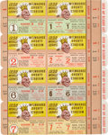 Baseball Collectibles:Tickets, 1958 World Series Full Ticket Uncut Sheet and 1956 Don LarsenPerfect Game Newspaper....