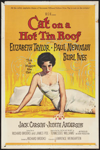 """Cat on a Hot Tin Roof (MGM, 1958). One Sheet (27"""" X 41""""). Drama"""