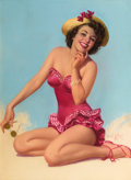 Pin-up and Glamour Art, ZOE MOZERT (American, 1904-1993). At the Beach. Pastel onboard. 37 x 26 in.. Signed lower right. ...