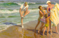 Mainstream Illustration, TOM LOVELL (American, 1909-1997). The Beach. Oil on canvas.22 x 34 in.. Signed lower right. ...
