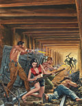 Pulp, Pulp-like, Digests, and Paperback Art, MORT KÜNSTLER (American, b. 1931). Fight for the Mine Shaft,Male cover, January 1963. Gouache on board. 20 x 15 in.. Si...