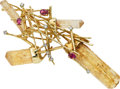 Estate Jewelry:Brooches - Pins, Pink Tourmaline, Crystal, Diamond, Gold Brooch, David Rosnov. ...