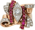 Estate Jewelry:Rings, Retro Diamond, Ruby, Pink Gold Ring. ...