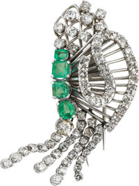 Emerald, Diamond, Platinum Clip-Brooch