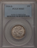 Barber Quarters: , 1910-D 25C MS63 PCGS. PCGS Population (9/59). NGC Census: (14/44).Mintage: 1,500,000. Numismedia Wsl. Price for problem fr...