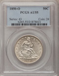 Seated Half Dollars: , 1850-O 50C AU55 PCGS. PCGS Population (5/53). NGC Census: (6/55).Mintage: 2,456,000. Numismedia Wsl. Price for problem fre...