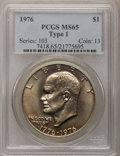 Eisenhower Dollars: , 1976 $1 Type One MS65 PCGS. PCGS Population (450/22). NGC Census:(180/15). Mintage: 4,019,000. Numismedia Wsl. Price for p...