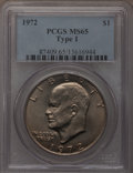 Eisenhower Dollars, 1972 $1 Type One MS65 PCGS. PCGS Population (244/4). Numismedia Wsl. Price for problem free NGC/PCGS co...
