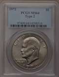 Eisenhower Dollars, 1972 $1 Type Two MS64 PCGS. PCGS Population (362/48). Numismedia Wsl. Price for problem free NGC/PCGS c...
