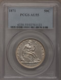 Seated Half Dollars: , 1871 50C AU55 PCGS. PCGS Population (12/66). NGC Census: (10/80).Mintage: 1,204,560. Numismedia Wsl. Price for problem fre...