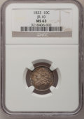 Bust Dimes, 1833 10C MS63 NGC....