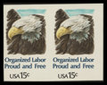 Stamps, 15c Organized Labor Issue, Imperforate Error (1831a),...
