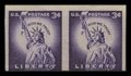 Stamps, 3c Deep Violet, Imperforate Coil Pair (1057a),...