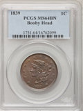 Large Cents, 1839 1C Booby Head MS64 Brown PCGS....