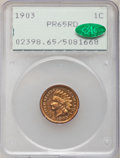 Proof Indian Cents, 1903 1C PR65 Red PCGS. CAC....