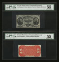 Fractional Currency:Third Issue, Fr. 1272sp 15¢ Third Issue Narrow Margin Pair PMG About Uncirculated 55.... (Total: 2 notes)