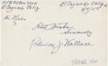 Baseball Collectibles:Others, Roderick J. Wallace Signed Index Card....