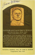 Baseball Collectibles:Others, Zach Wheat Signed Hall of Fame Plaque Postcard....