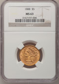 Liberty Half Eagles, 1888 $5 MS63 NGC....