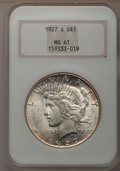 Peace Dollars: , 1927-S $1 MS61 NGC. NGC Census: (131/2410). PCGS Population(141/3743). Mintage: 866,000. Numismedia Wsl. Price for problem...