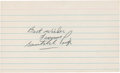 Baseball Collectibles:Others, Satchel Paige Signed Index Card....